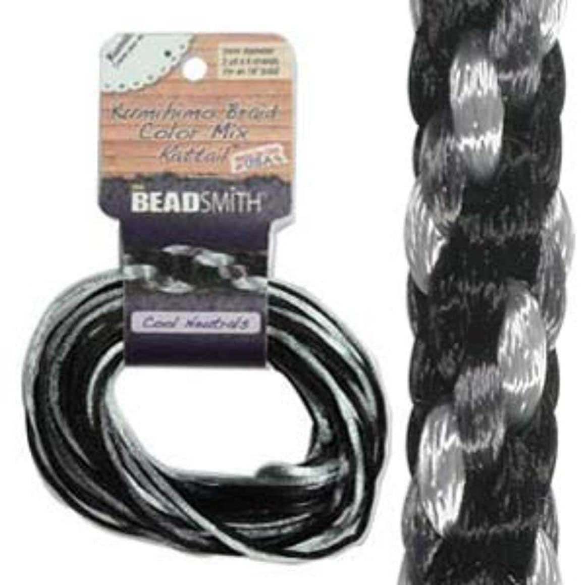 3mm Satin Rattail Braiding Cord Cool Neutrals 12 Yards For Kumihimo and Craft