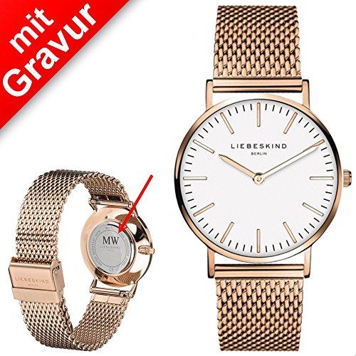 Sterngraf Damenuhr von Liebeskind MIT Gravur (z.B. Initialen) LT-0077-MQ Uhr Damen Armbanduhr Roségold