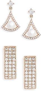 Zaveri Pearls Set of 2 Rose Gold Cubic Zirconia Brass Hoop & Drop Earrings For Women-ZPFK11142