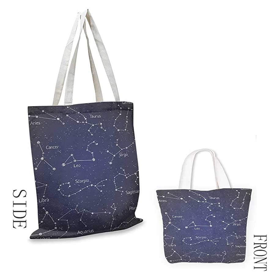 Shopping work bag Constellation Doodle Chalk Written Like Set of Zodiac Clusters and Sign Names Cosmetic bag 16.5