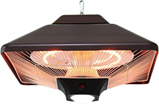Electric Hanging Patio Heater, 2000W Halogen Radiant Infrared Heaters with Led and Remote Control, 2 Power Settings, Ceili...
