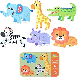 Ratus Wooden Puzzle 6Pcs Cartoon Animals, Dinosaurs, Wooden Puzzles for Cars, Rounded Edges to Protect Children with Iron Box Storage, Children's Thinking Skills Toys- Wild Animal#