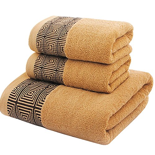 NarwalDate Bath Linen Sets Bathroom 2 PCS Towel Set Hand Towels 13 x 29 Inch and Quality Washcloths Bath Towels 27.5 x 55 Inch Made of Cotton, Color Brown