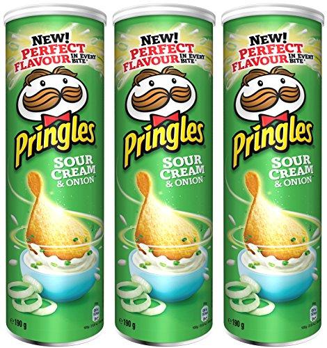 Pringles Sour Cream and Onion Crisps 190 gr. - [Pack 3]