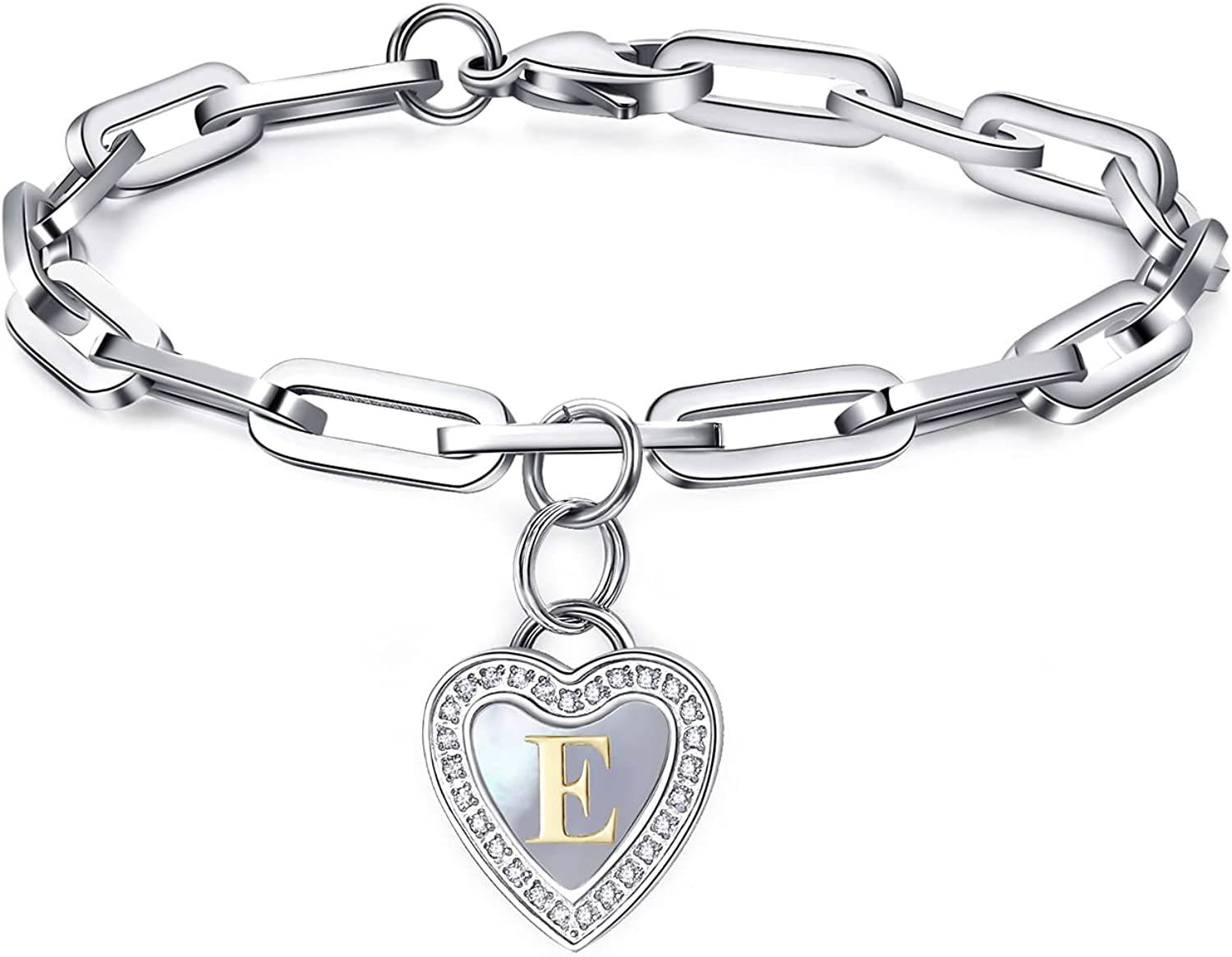 johoo Heart Initial Factory outlet Paperclip Charm A-Z Letter 5 popular Bracelet Alphab -