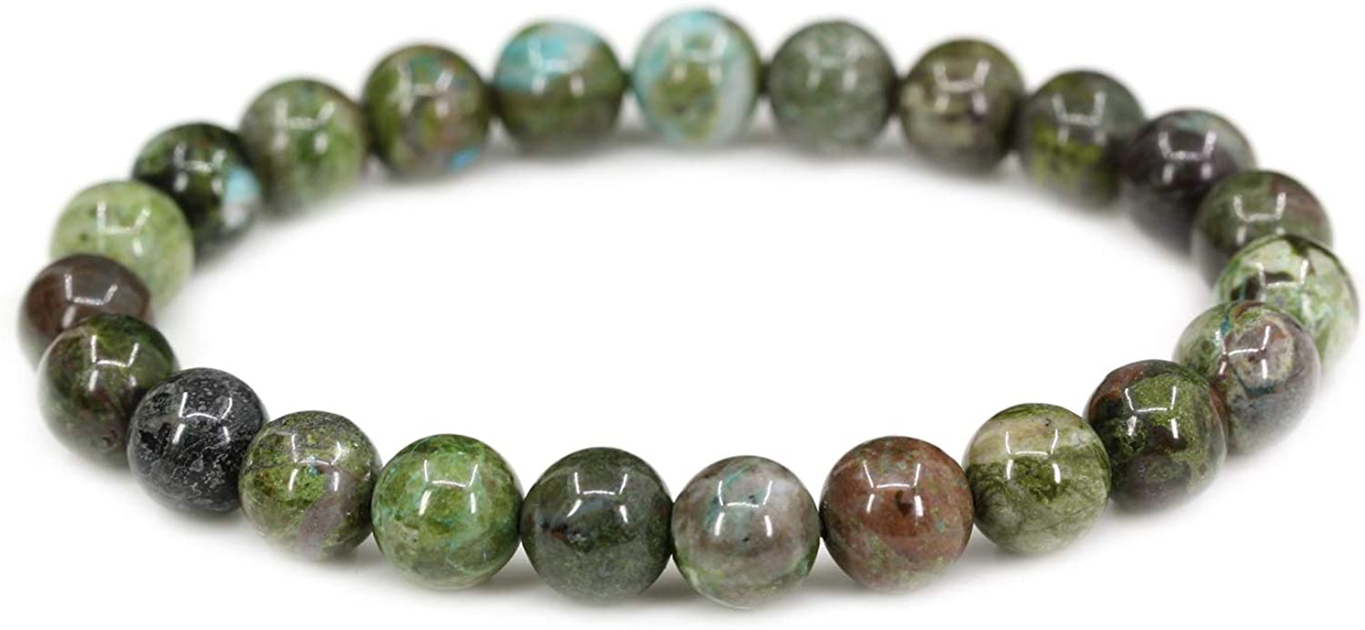 Amandastone Natural Gemstone 8mm Round Beads Boston Mall Our shop OFFers the best service Bracelet 7 Stretch