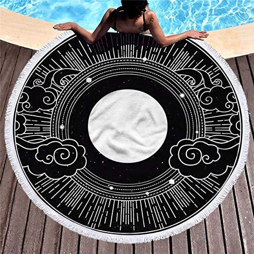 BSSDG Toalla Playa Toalla de Playa Redonda Funda de Manta portátil Alfombra de Picnic Patrón geométrico Luna Sol Alfombrillas de Yoga Divertidas para Interior Alfombra de Pared, 15,150 cm