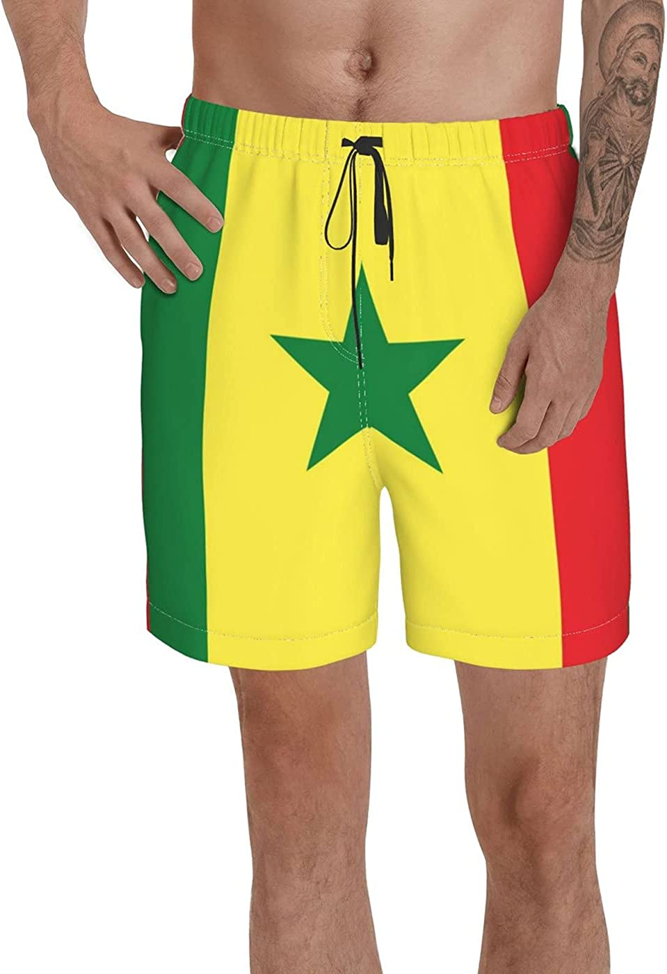 Count Senegal Flag Men's 3D Printed Funny Summer Quick Dry Swim Short Board Shorts with