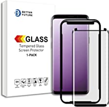 Better Future Glass for Samsung Galaxy S9 Plus Full Adhesive Glue Screen Protector Glass 3D Curved Tempered Premium AGC Glass[Black][1-Pack]