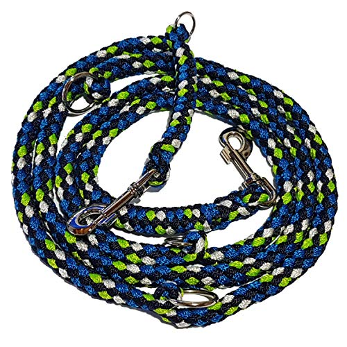 Activity4Dogs Hundeleine geflochten für größere und große Hunde 4-Fach verstellbar 2,8 m lang 4-farbig (apfelgrün-wasserblau-Marineblau-weiß), Made IN Germany