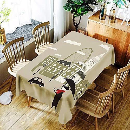XXDD Mantel de Loto 3D Fondo Puro Flor de Diente de león y patrón de niña Cubierta de Mantel Impermeable y a Prueba de Polvo A1 135x160cm