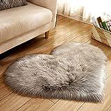 panthem Alfombra con forma de corazón, mullida y suave, de pelo largo, de felpa, para salón, dormitorio, mujer, chica, pareja, 40 x 50 cm, color gris