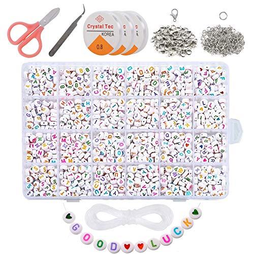 VEGCOO 1200pcs 7mm Lettre Perles Rondes, Perles Blanches Alphabet coloré A-Z,pour DIY Perles Charm pour Bracelets, Colliers,Livré également avec 185 Accessoires