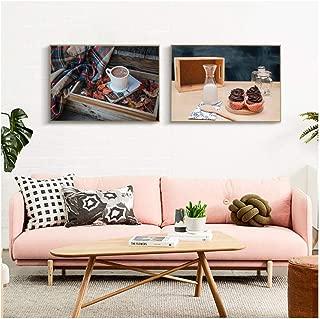 chaoaihekele Still Life Delicacy Breakfast Canvas Art Poster Café Caliente Impresión Decorativa Pintura de Pared Decoración Imagen Decoración para el hogar Sin Marco 50x70cmx2 (sin Marco)