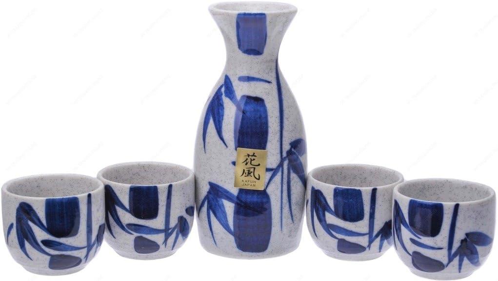 Kafuh MSE70WBV Japanese Porcelain Sake Set with Indefinitely Bot Blue Bamboo Department store