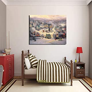 Fenfei Thomas Kinkade St Nicholas Circle Canvas Painting Prints Living Room Home Decoration Modern Wall Art Oil Painting Poster Picture 50cm x75cm No Frame