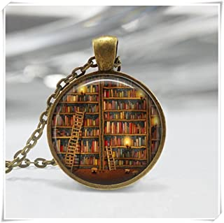 Library Book Necklace, Bookworms Art Pendant , Librarian Jewelry , Dome Glass Ornaments, Pure Handmade