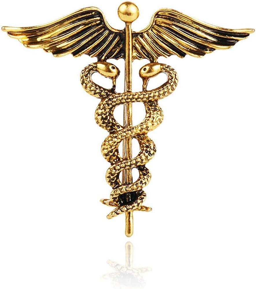 Milwaukee Mall Vintage New popularity Medical Symbol Caduceus Brooch Jewelry Pin Medicine Rod