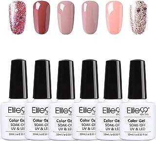 Elite99 Esmaltes Semipermanentes de Uñas en Gel UV LED 6pcs Kit de Esmaltes de Uñas de Color Nude y Brillo Glitter 10ml 003