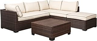 Ashley Furniture Signature Design - Loughran Outdoor Sectional Set - Loveseat Sectional, Ottoman & Cocktail Table - Beige & Brown