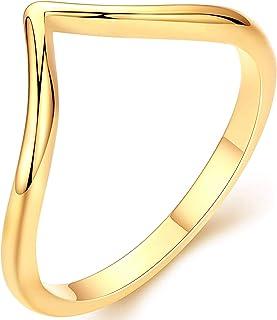 Dremmy Studios خواتم ذهبية قابلة للتكديس للنساء 18K الذهب مملوءة صغيرة أنيقة شيفرون على شكل V خواتم الإبهام اليدوية نصف دا...