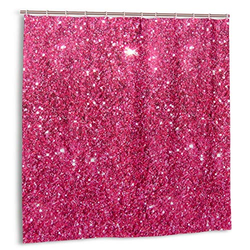 Hot Pink Shower Curtains for Bathroom with 12 Hooks Funny Waterproof Colorful 72 x 72 Inches for Decorative Home
