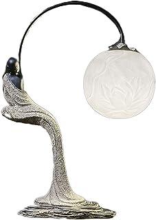 ZZL Lampe de Table Vintage Lampe de Table de Chevet rétro,Abat-Jour Lotus,Interrupteur à Bouton-Poussoir,Convient au Cheve...