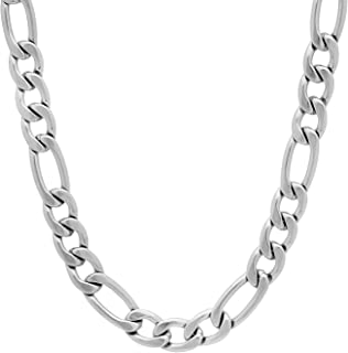 Men's 7mm High-Polished Stainless Steel Flat Figaro Chain...