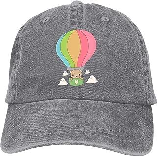 LeoCap Hot Air Ballon Brown Bear Baseball Cap Unisex Washed Cotton Denim Hat Adjustable Caps Cowboy Hats