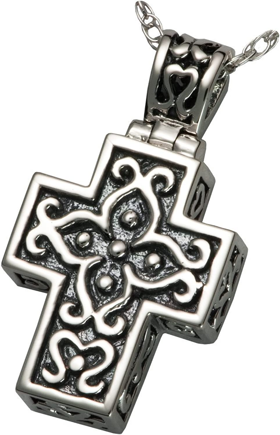 Memorial Gallery MG3121s Filigree Cross Sterling Silver Cremation Pet Jewelry