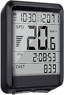 EIVOTOR - Contador de bicicleta multifunción inalámbrico para ordenador de bicicleta, velocidad impermeable, contador Kilometrico de bicicleta, con cronómetro, contador de velocidad, odomómetro, retroiluminación LCD