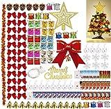 Queta Juerga Adornos de árbol Navidad, 139 Piezas 13 Estilos Adornos Colgantes Navidad, Decoración de Navidad, Caja de Regalo Colgantes/Campanas/Piñas/Nudos/Tarjetas/Luz de Cuerda/Bolas, etc.