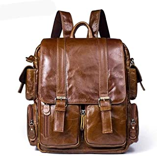 Mens Leather Bag Men Casual Shoulder Bag Fashion Changeable Men Large Satchel Genuine Leather Backpacks for Men Bag (Color : Brown, Size : S)