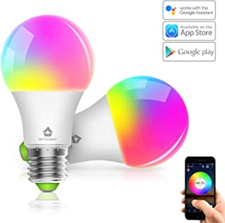 Smart Light Bulb BITIWEND WiFi Smart LED Bulb E26 RGBW Dimmable Smart Color Light Bulb with Remote Control 350lm Compatible with Alexa Google Home,No Hub Required,2 Pack LED Smart Bulbs