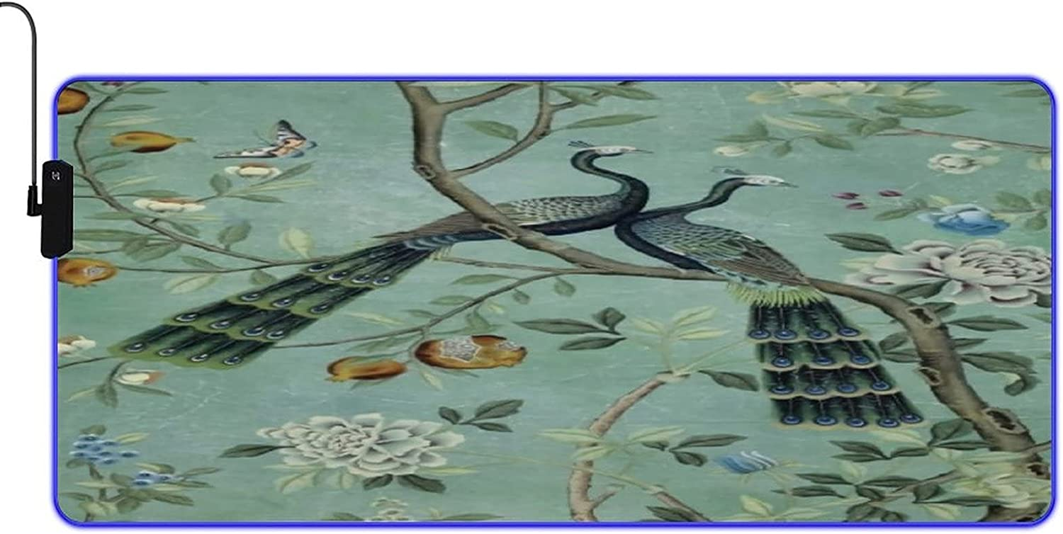 MISCERY Glowing Max 60% OFF Mouse Pad A Teal Peacock Chinoiseri of Two Portland Mall Birds