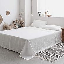 ملاءة مسطحة مسطحة من Simple&Opulence Queen - 100% من الكتان المغسول المطرز - فائقة النعومة، مسامية، أغطية سرير مسطحة واحدة...