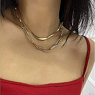 Acedre Paperclip Chain Choker Necklaces Gold Layered Snake Necklaces Adjustable Necklace Chains Dainty Accessory for Women...