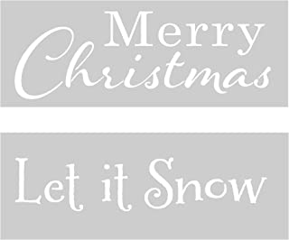 Crafter`s Workshop 16.5 x 6 inch Farmhouse Christmas Stencil 2 Pack, Reusable Stenciling Templates for Rustic Home Decor, Wall Art, and Sign Making - TCW2180 Merry Christmas and TCW2179 Let it Snow