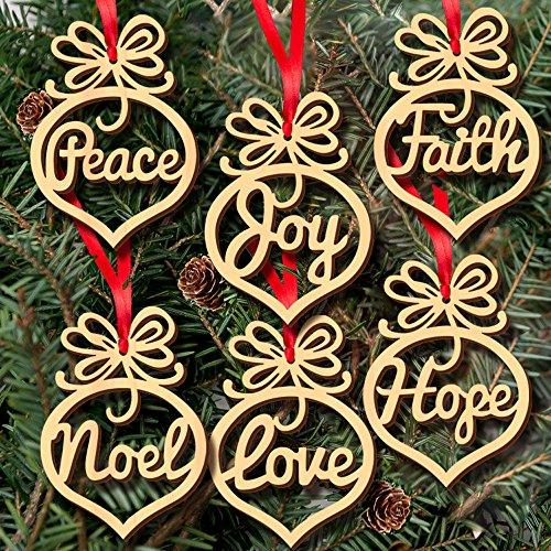 Gaddrt - 6 etiquetas de madera para colgar en el árbol de Navidad