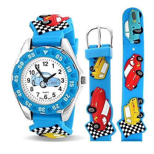 Bling Jewelry Sport Rennwagen Treiber wasserdichte Armbanduhr Zeit Lehrer Quarz 3D Cartoon Blau Silikon Armband Bunte Runde Zifferblatt