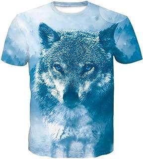 Unisex Fashion 3D Print T-Shirts White Wolf Head Graphics Short Sleeve Tees