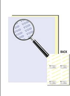 Laser Print Security Paper (SGP-2), Blue/Canary 21-lb 2-Part Carbonless, 8.5