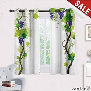 Big datastore Pattern DIY Available Curtain,Vineyard,Vineyard with Swirled Leaves Freshness Fruit Garden Harvest Season Wine Growth Theme,with Solid Grommet Top Green,W55 Xl45