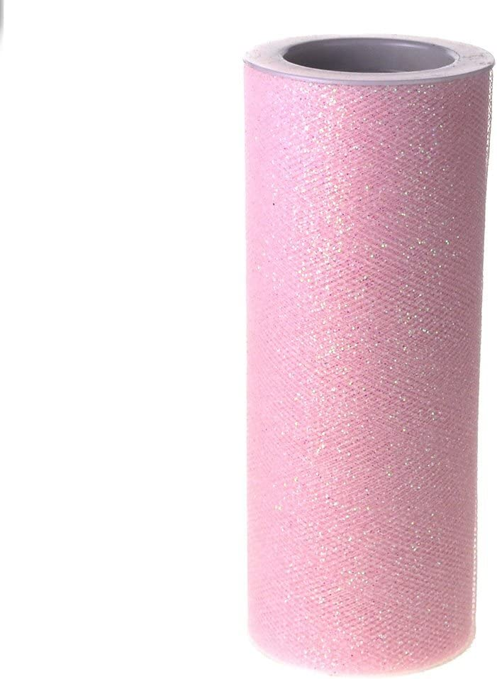 Glitter Tulle Spool Now on sale security Fabric Net Pink Light 6-inch 10-Yard