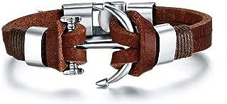 University Trendz PU Leather Funky Anchor Bracelet for Mens & Boys (Brown)