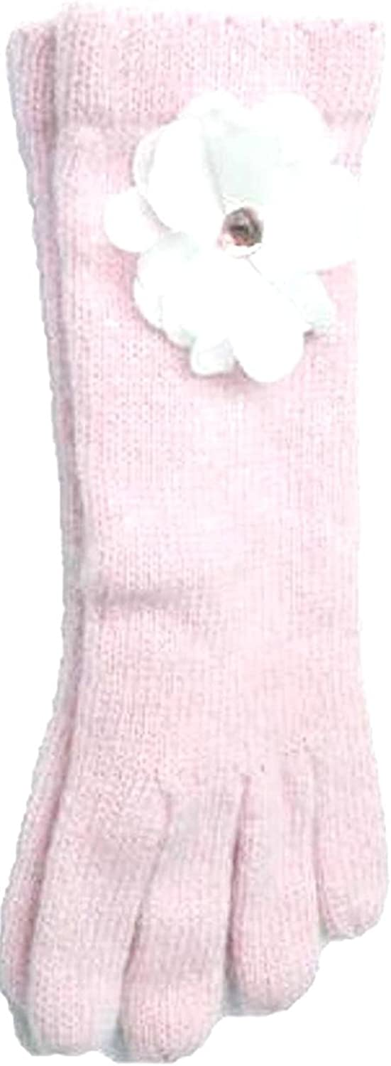 Pink Color Angora Gloves Trimmed with White Rhinestone Chiffon Flower