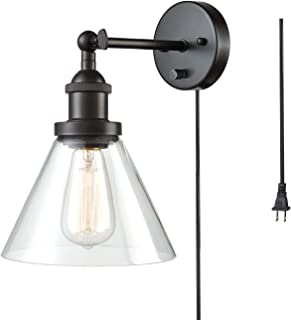 CLAXY Ecopower Industrial Glass Wall Sconces 1-Light Bronze Wall Lamp Plug-in Option Wall Lighting