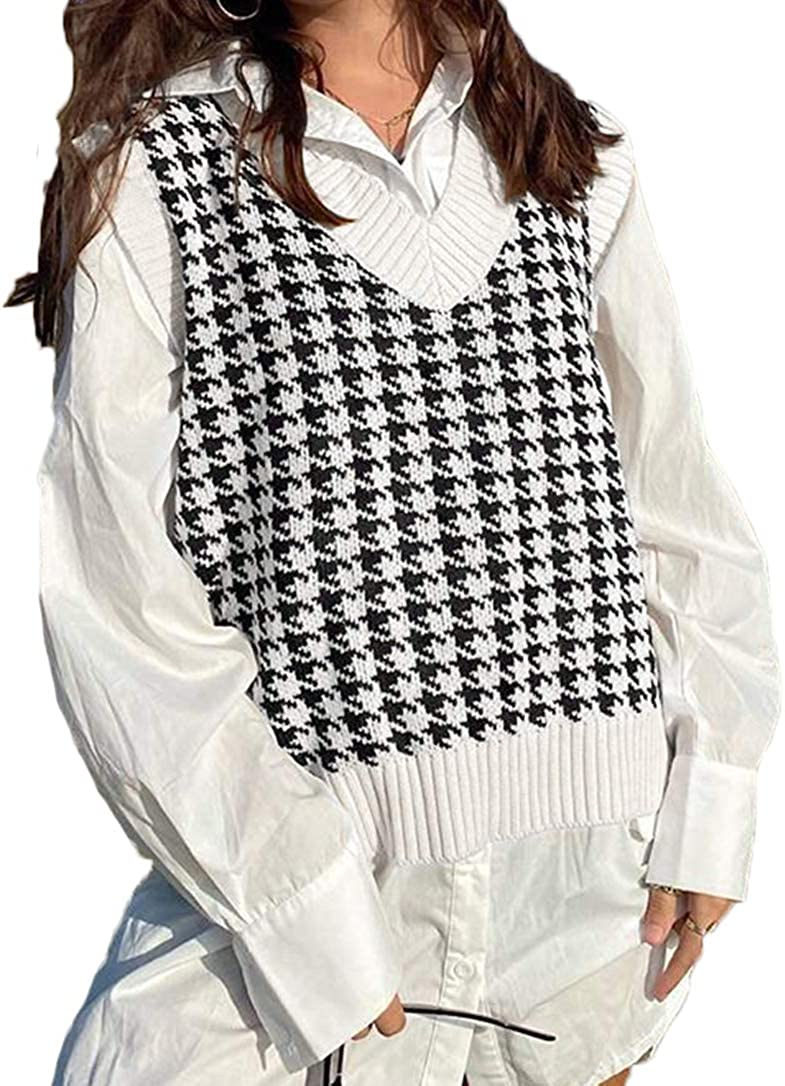 Women Lowest price challenge Girls Y2K Argyle Preppy Style Sweater Ranking integrated 1st place Top Tank Knit Street