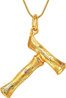 26 Letter Charm Bamboo Pendants Women Gold/Platinum Plated Snake Chain Initial Necklace