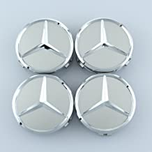 SDSB Wheel Center Caps For Mercedes Benz 75mm - Raised Star Wheel Rim Insert Caps (Silver)
